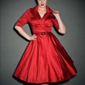 Red Haunted Housewife Dress Deadly Dames Pinup 3X
